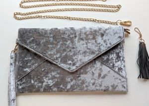 Lulu's Crushed Velvet Silver Clutch